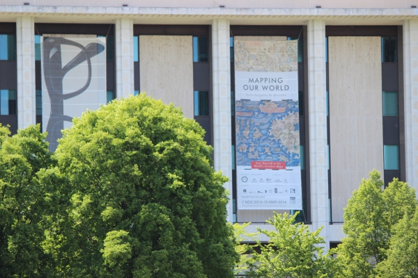 The National Library of Australia, external shot featuring Mapping Our World exhibition banner. Photo by Darren Smith, 2013.